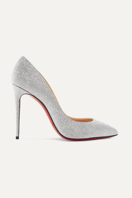 Christian Louboutin Pigalle Follies 100 Glittered Leather Pumps - Silver