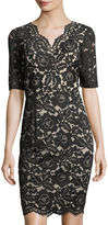 Ellen Tracy Lace Scalloped Sheath Dress
