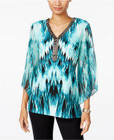 JM Collection Petite Beaded Printed Top, Only at Macy's