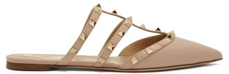 Valentino Rockstud Caged Leather Mules - Nude