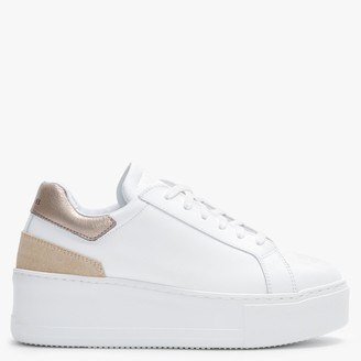 Daniel Sibley White Leather Gold Flash Flatform Trainers