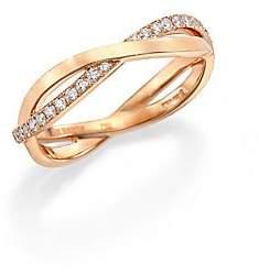 De Beers Women's Infinity Diamond & 18K Rose Gold Half Band Ring