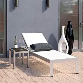 Orren Ellis Coline Contemporary Outdoor Patio 2 Piece Metal Single Chaise and Table Set Orren Ellis