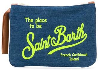 MC2 Saint Barth Denim Pochette Whit Fluo Yellow Saint Barth Print