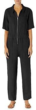 Enza Costa Zip Front Linen Jumpsuit