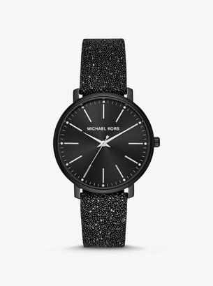 Michael Kors Pyper Black-Tone Swarovski Crystal Embellished Watch