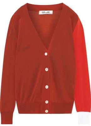 Diane von Furstenberg Wilma Color-block Merino Wool Cardigan