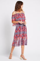 BCBGeneration Off-the-Shoulder Printed Midi Dress - Chili Pepper Multi