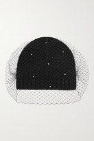Thumbnail for your product : Eugenia Kim Lucinda Ribbed Wool And Cashmere-blend And Faux Pearl-embellished Mesh Beanie - Black