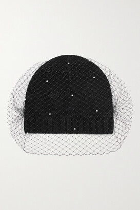 Eugenia Kim Lucinda Ribbed Wool And Cashmere-blend And Faux Pearl-embellished Mesh Beanie - Black