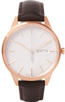 Uniform Wares C40 Rose Gold PVD-Plated Stainless Steel and Leather Watch