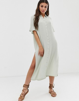 Amuse Society Tranquilo woven shirt dress in palm green