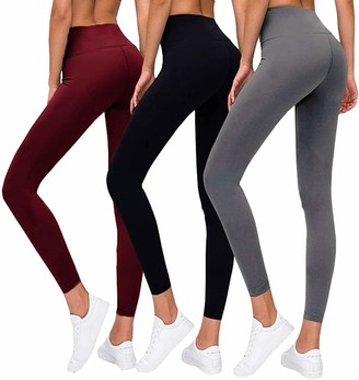 Hi Clasmix Premium Women's Leggings Soft High Waist Slimming Leggings Tummy Control Workout Yoga Pants (3 Pack-1 Black&1 Light Grey&1 Wine Red One Size)