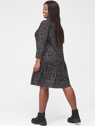 V By Very Curve Animal Jacquard Dress - Mono
