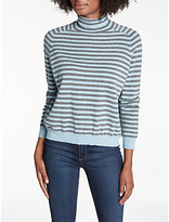 360 Sweater Erika Striped Roll Neck Jumper, Mid Grey/Bluebell