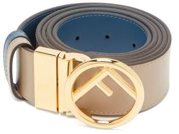 Fendi Logo Embellished Reversible Leather Belt - Womens - Blue