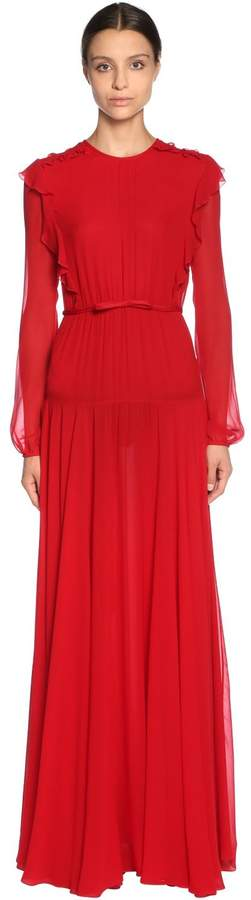 Giambattista Valli Silk Georgette Dress W/ Ruffle Trim