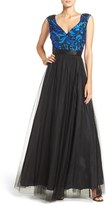 Aidan Mattox Women's Embroidered Mesh Fit & Flare Gown