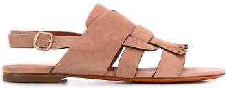 Santoni Fringed Low-Heel Sandals