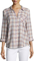 Joie Jerrie Plaid Button-Front Top, Multi Pattern
