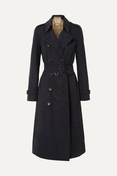 Burberry The Chelsea Long Cotton-gabardine Trench Coat - Midnight blue