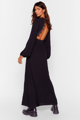 Nasty Gal Womens Be Free Broderie Anglaise Maxi Dress - Black
