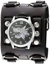 Nemesis 'Dragon Head' Quartz Stainless Steel and Leather Watch, Color:Black (Model: WB903K)