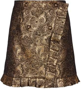 Sandro Metallic Floral-Embroidered Skirt