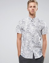 Paul Smith Short Sleeve Shirt Floral Line Print Tailored Regular Fit in White