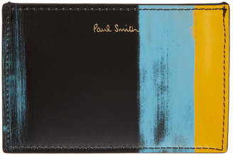 Paul Smith Black and Yellow Brush Stroke Card Holder
