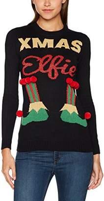 The Christmas Workshop Women's Ladies Xmas Elfie Christmas Design Jumper Black, 8 (Size: Small)