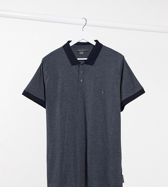 French Connection Plus contrast collar polo in navy