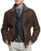 Brunello Cucinelli Leather Pilot Jacket w/Cashmere Trim, Dark Brown