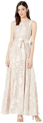 Tahari ASL Sleeveless Organza Burnout Gown with Satin Sash (Champagne) Women's Dress