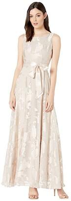 Tahari ASL Sleeveless Organza Burnout Gown with Satin Sash (Champagne) Women's Dress