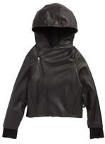Nununu Toddler Boy's Hooded Leather Jacket