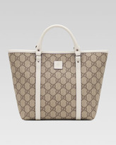 Gucci Girls' GG Plus Leather-Trim Fabric Tote Bag, Beige Ebony/White