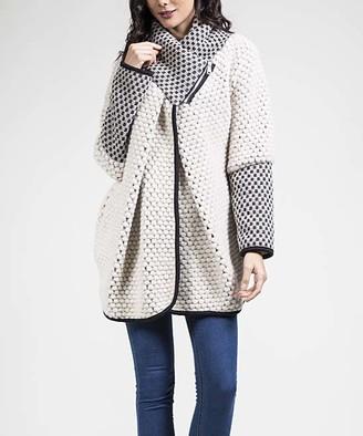 Couture Jnj JNJ Women's Car Coats White - White Cowl Neck Wool-Blend Jacket - Women