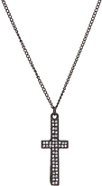 Carole Crystal & Stainless Steel Skinny Cross Pendant Necklace