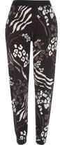 River Island Womens Black animal print joggers