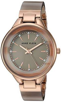 Anne Klein Women's Swarovski Crystal Accented Gold-Tone and Tan Resin Bangle Watch