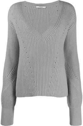 Derek Lam 10 Crosby Ribbed Twilight Wool Cashmere V-Neck Bell Sleeve Sweater