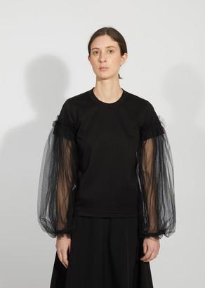 Noir By Kei Ninomiya Tulle Sleeve T-Shirt