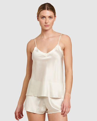 Ginia Women's White Pyjama Tops - Silk V-Neck Camisole - Size One Size, 8 at The Iconic