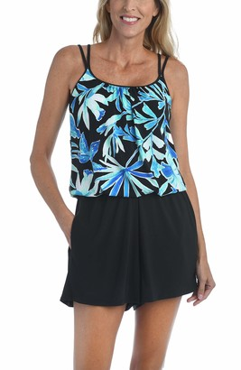 Maxine Of Hollywood Women's Side Tie Scoop Neck Banded Tankini Swimsuit Top Navy//Painted Palm 21