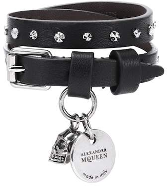 Alexander McQueen Studded leather wrap bracelet