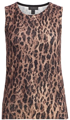 Saks Fifth Avenue Leopard-Print Cashmere Shell Top
