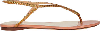 Francesco Russo Braided T-Strap Flat Sandals