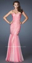 La Femme Shimmering Chiffon Trumpet Evening Dress