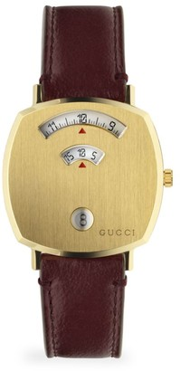 Gucci Grip Yellow Gold PVD & Bordeaux Leather Strap Watch